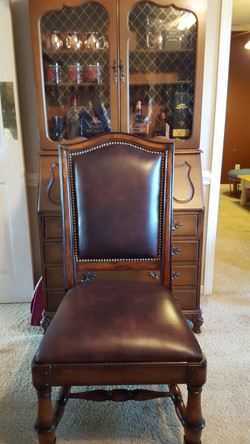 Custom Upholstered Leather Dinning Chairs with decrotive nailheads. (2)_edited