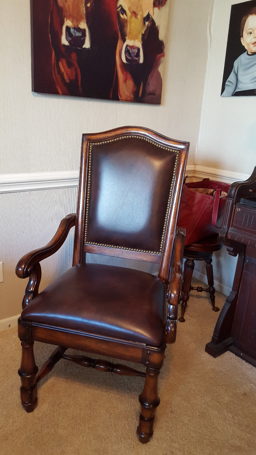 Custom Upholstered Leather Dinning Chairs with decrotive nailheads._edited