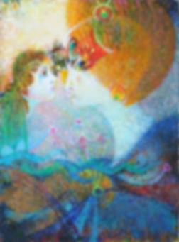 Fée et Sirène. Peinture de Raphy à l'huile sur toile. Fairy and mermaid. A Raphy's oil painting