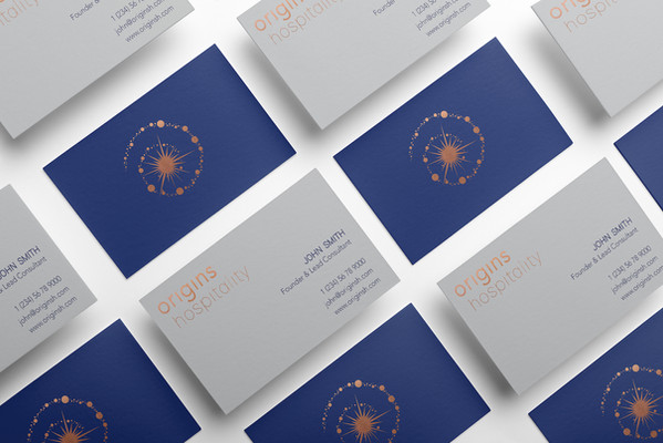 corporate business card design blue grey copper gold