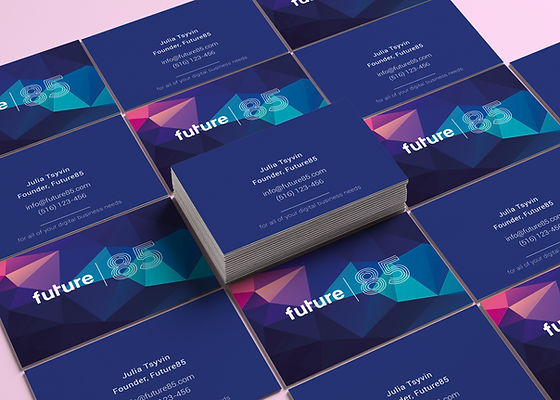 business cards poly design blue fuchsia pink