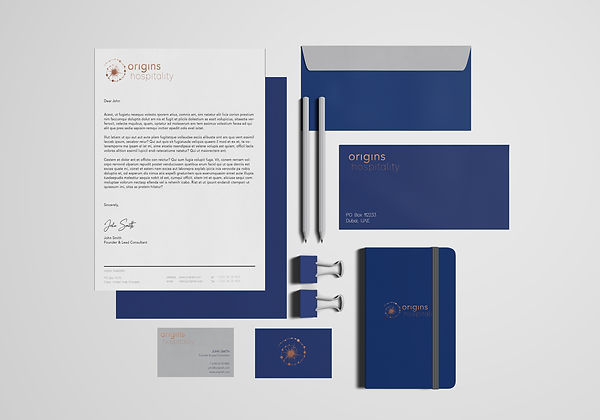 corporate stationary design blue grey copper gold