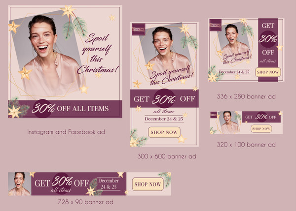 social media template design facebook ads feminine