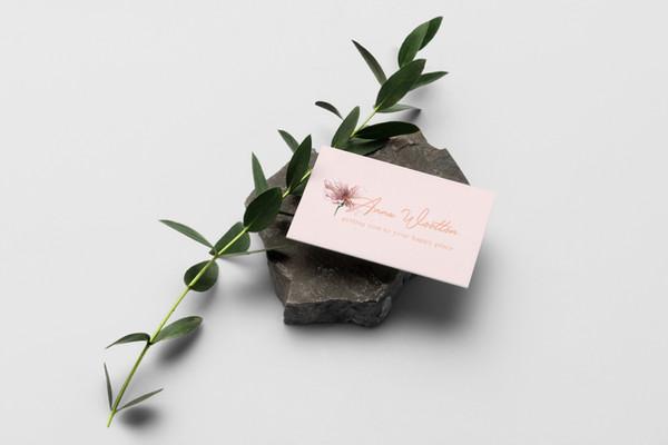 business card feminine flower soft pink peach script
