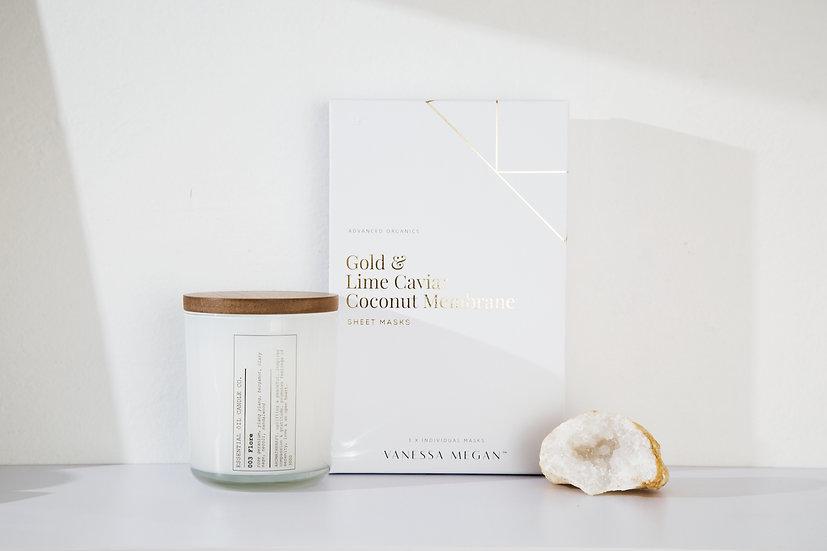 Vanessa Megan Gold & Lime Caviar Coconut Membrane Sheet Masks