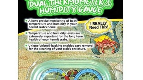 Zoo Med Hermit Crab Home Dual Thermometer and Humidity Gauge Glow in the Dark