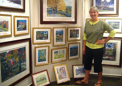 Ann Coleman in her gallery in Wilmington VT