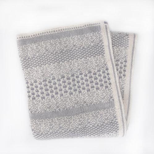 Pixels Cotton Throw Blanket Natural/Lt. Grey