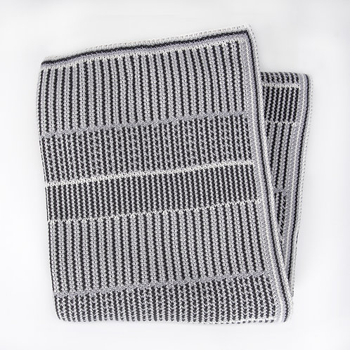 Lofty Stripe Cotton Throw Blanket Dark Grey Combo