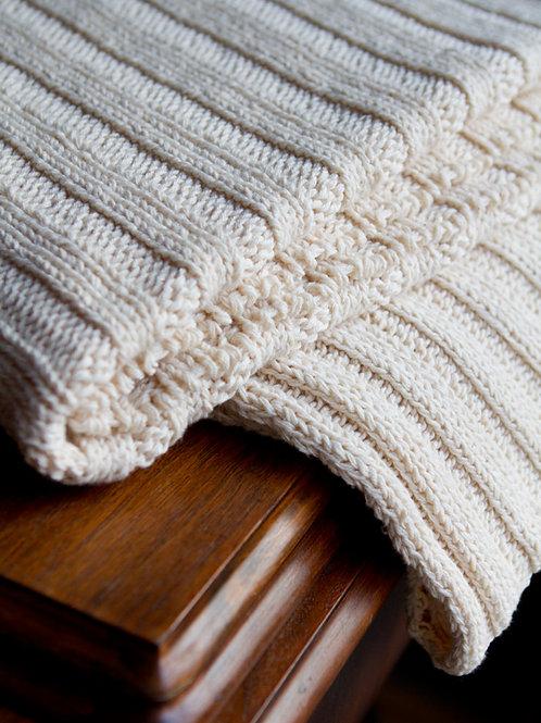 Natural Panel Rib Throw Blanket