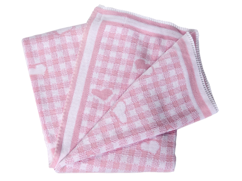 Gingham and Hearts Reversible Baby Blanket