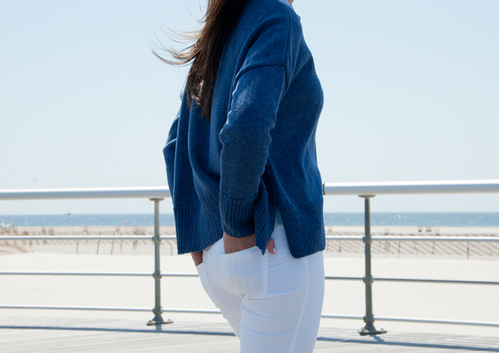 Boxy Denim Sweater/Rib Detail