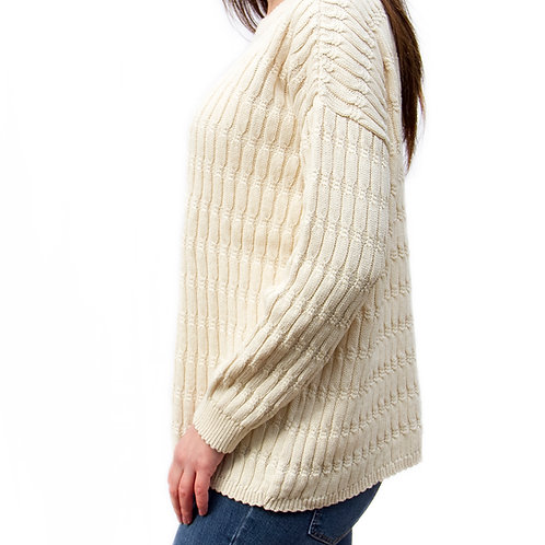 Jewel Neck Cable Sweater