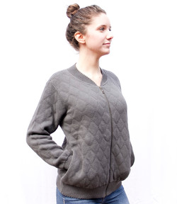 Quilted Zipper Cardigan Storm (1)