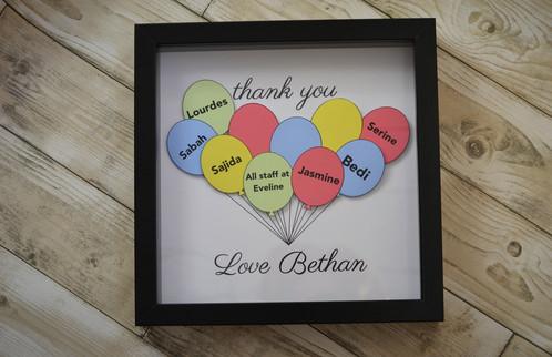 Balloon thank you frame