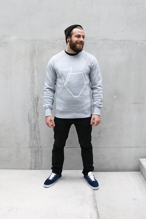 Pullover Grafikherz hellgrau