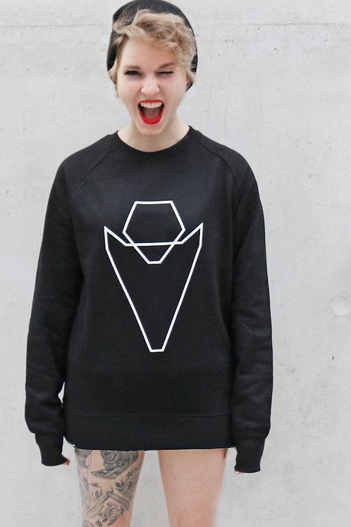Pullover Grafikherz schwarz Ladies