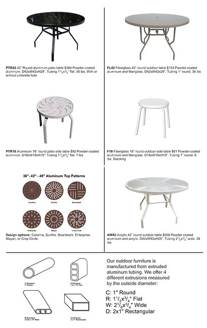 Aluminum Table Details and Options, Contract Furnishings Comercial Furniture USA, Wholesale Factory Direct Outdoor Patio Furniture
