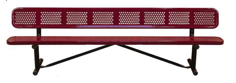 10' Standard Perforated Bench w BACK Portable N10WBP