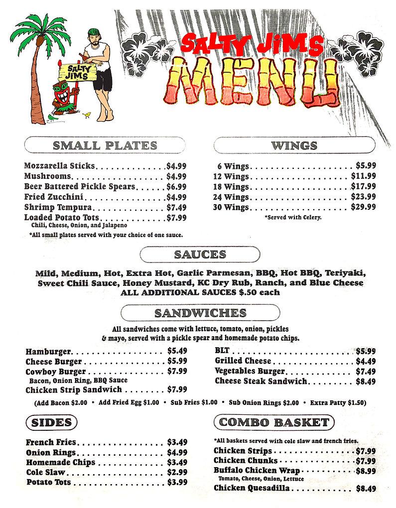 Salty Jims Menu, Salty Jims Island Bar and Grill, Sarasota Island Bar, Sarasota Bar and Grill