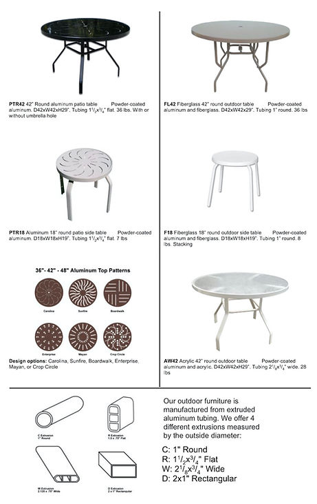 Contract Furnishings Aluminum Table Options