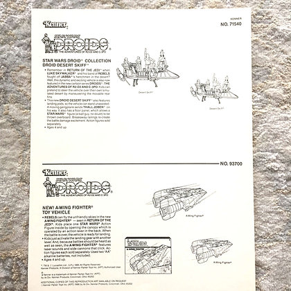 Kenner Clip Art by Kwikee-1985 - Features Doid Desert Skiff and A-Wing