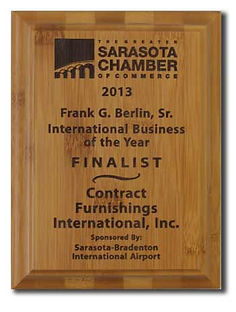 Contract Furnishings Receives Sarasota Chamber of Commerce Finalist for theFrank G Berlin Sr International Business of the Year