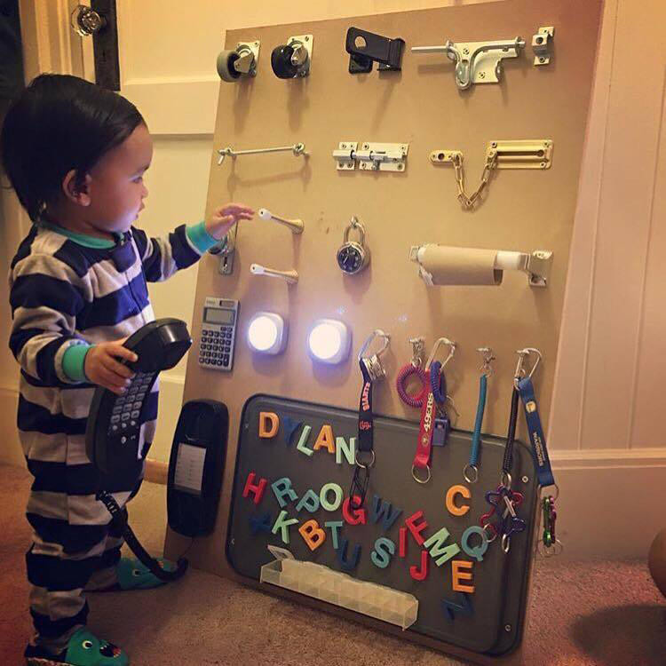 Homemade Busy Board for Toddler Made by Dad, Monday Morning Moms