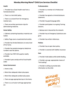 Monday Morning Moms Child Care Checklist for Parents
