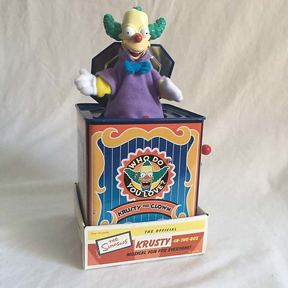 simpsons, krusty in the box, plush, collectibles toys, batman, pee wee herman, star wars, star trek, super heroes, weird