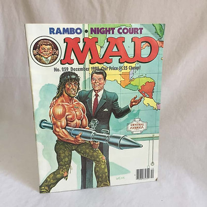 MAD Magazine, Rambo, Reagan, 1985, collectibles, toys, batman, pee wee herman, star wars, star trek, super heroes, weird toys