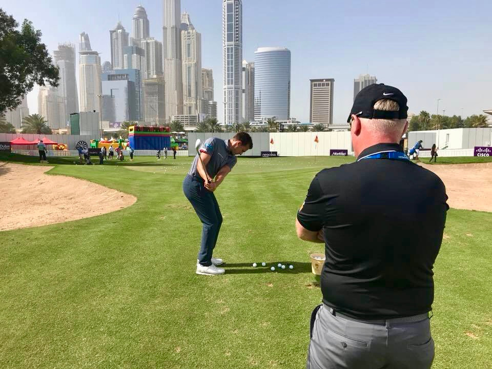 Doing some short game work with coach Mark Pearson