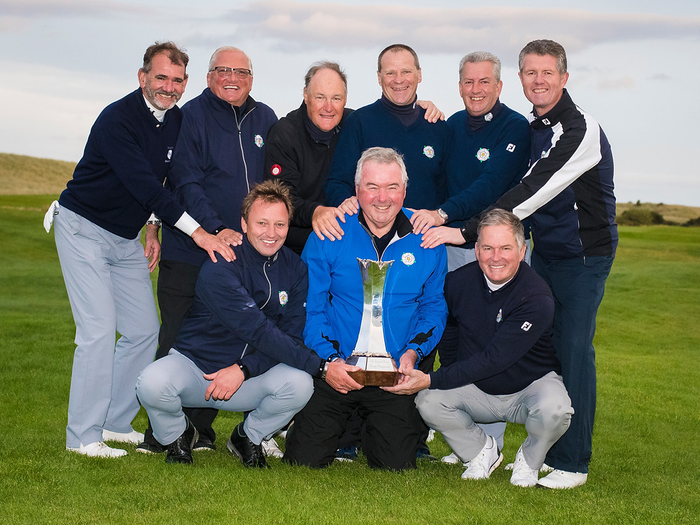 Yorkshire's winning squad (L-R): Back row: Andy King (Garforth), Johnny Lawrence (Moor Allerton), Garry Cuthbert (Alwoodley), Mark Lawson (Garforth), Andy Whitworth (Halifax Bradley Hall), Jonathan Plaxton (Fulford), Front row: Ian Clarke (Lindrick), Tony Greenhalgh (capt), Peter Ward (Middlesbrough). PHOTO: LEADERBOARD PHOTOGRAPHY