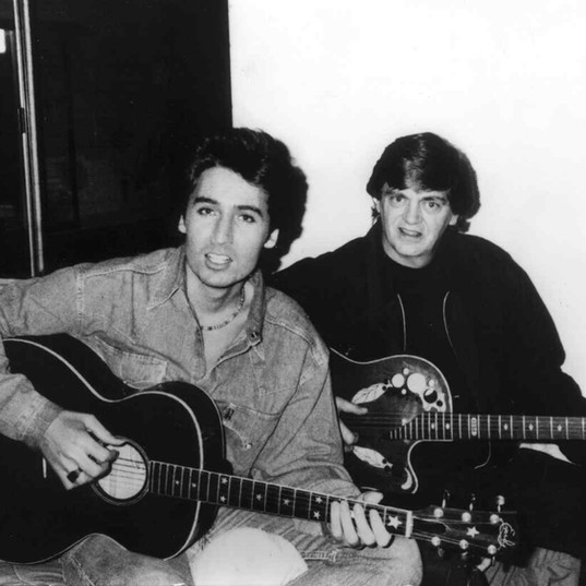 René with Phil Everly recording a videoclip