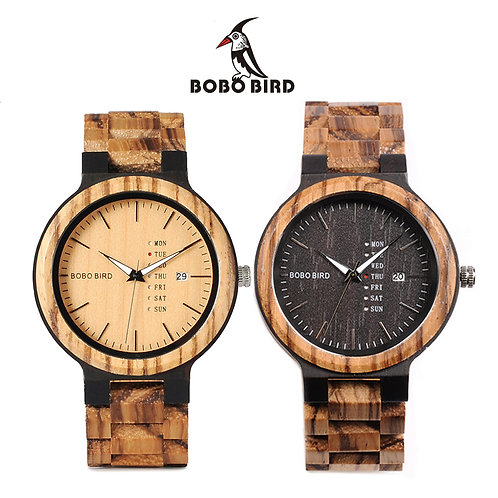 BOBO BIRD Natural Zebra Wood Unisex / Men's Quartz Watch