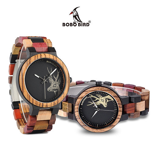 BOBO BIRD Natural Wooden Bamboo Multi-Color His & Hers Matching Watches