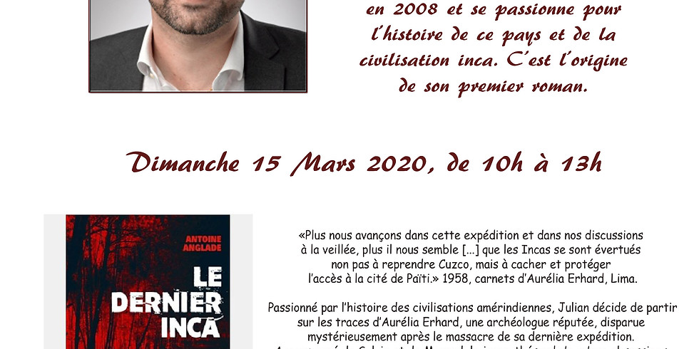 Dédicace Antoine Anglade