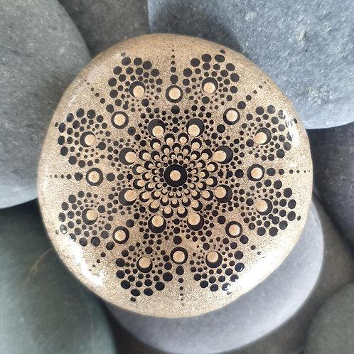 Gold Metallic Dot Mandala - Hand-painted Stone