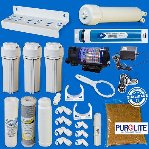 Kit Deonizador 4 Estágios com membrana 100gpd Bomba e transformador