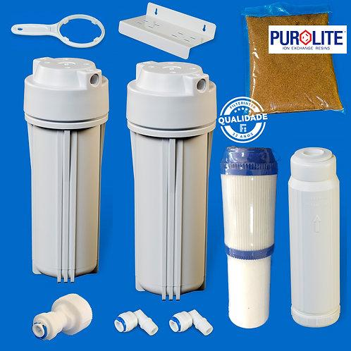 Kit Deionizador 2 Estágios com 3 Etapas de Filtração (PP/Carvao, Resina)