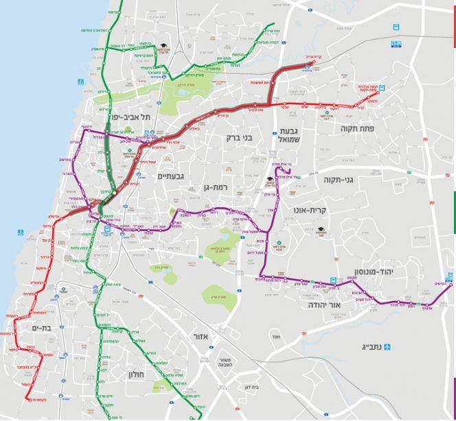 מפת הקו האדום גוש דן