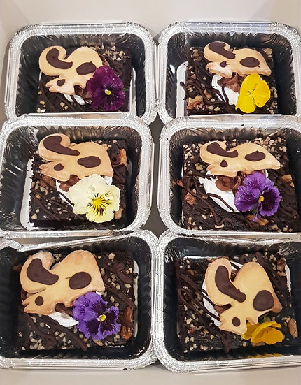CHOCOLATE AND WALNUT BROWNIE with ANIMAL'S SHORTCRUST BISCUIT