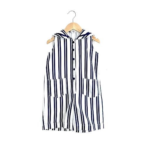 Vintage StripeRomper with Sailor Collar (5/6y)