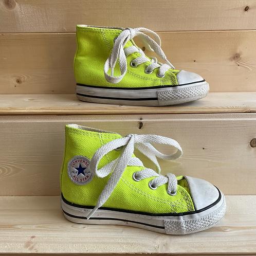 Neon Yellow Hi Top Converse (UK6/EU22)