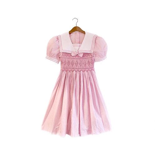 Gorgeous Vintage Smocked Pastel Pink Striped Dress (9/11y)