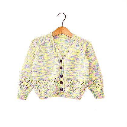 Hand Knit Pastel Cardigan (approx 12m)