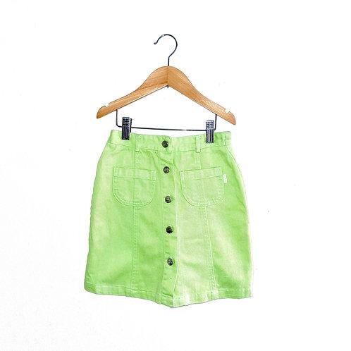 Vintage Apple Green Button Front A-Line Denim Skirt (6/8y)
