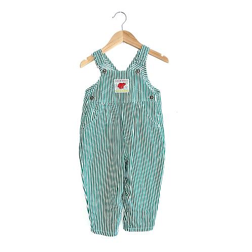 Vintage Green Stripe Dungarees (2/3y)