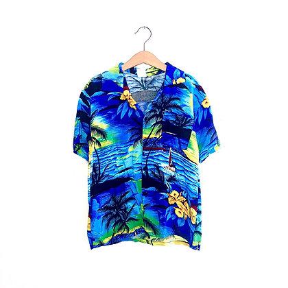 Vintage Hawaiian Shirt (blue) (6/8y)