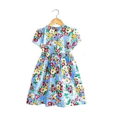 Gorgeous Vintage Floral Dress With Scalloped Neck (4/6y)